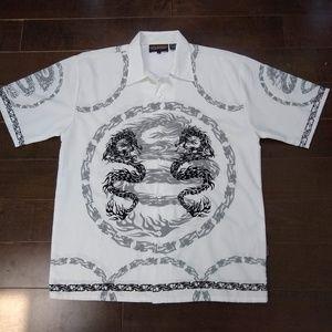 Sapphire Lounge   Dragon Button Down Shirt
